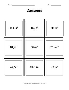Area and Volume Tic Tac Toe Game