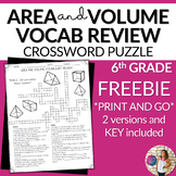 Area and Volume Vocabulary Math Crossword Puzzle FREE
