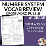 Number System Vocabulary Math Crossword Puzzle