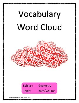Area and Volume Vocabulary Word Cloud Word Bank Handout Geometry