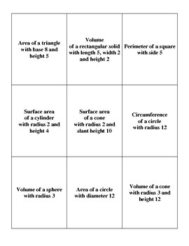 Area and Volume War Cards