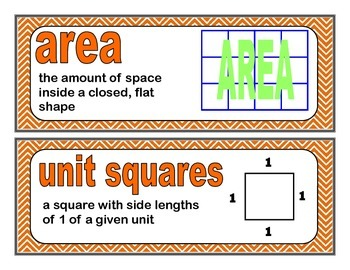 Area and Volume Word Wall  {Everyday Math 4, Fifth Grade, Unit 1}
