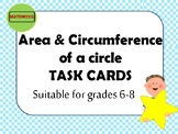 Area and circumference of a circle task cards