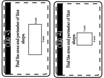 Area and perimeter clue game!