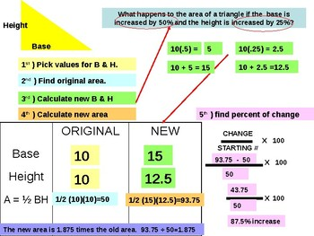 Area and volume changes when dimensions are increased or decreased by a percent.