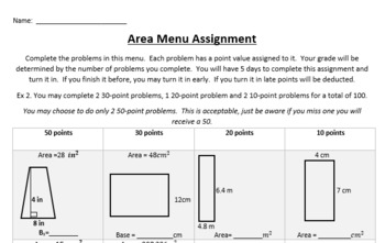Area menu homework assignment