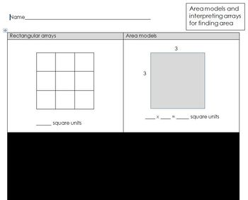 Area model - finding area of rectangles