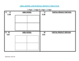 Area model & partial product multiplication dittos- 1 ready to go, 1 blank sheet