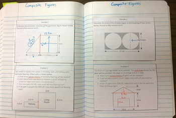 Area and Perimeter of Composite Figures Foldable Notes SOL 8.11