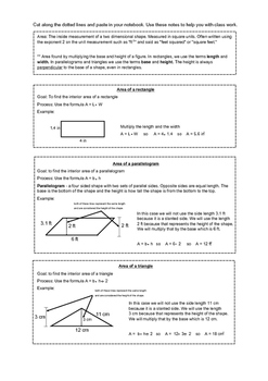 Area notes for rectangles, parallelograms, and triangles