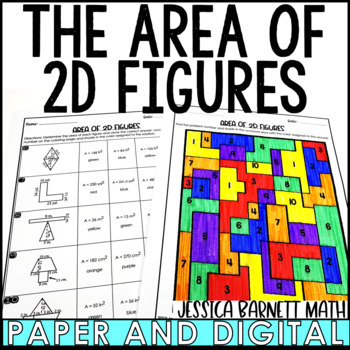 Area of 2D Figures Coloring Activity
