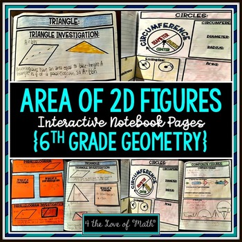 Area of 2D Figures 6th Grade Geometry Interactive Notebook Pages