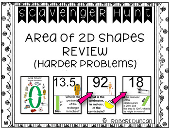 Area of 2D Shapes - Review (Harder Problems)