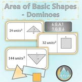 Area of Basic Shapes: Domino Train Activity WITH review an