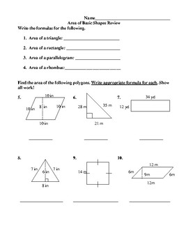 Area of Basic Shapes Review