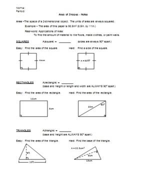Area of Basic Shapes(no circles)