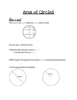 Area of Circle Notes