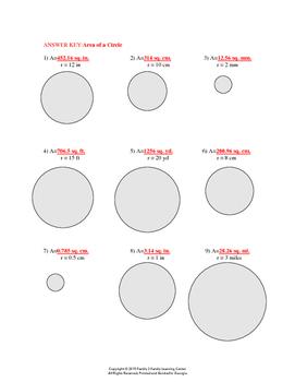 Area of Circle Worksheet