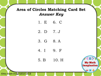 Area of Circles Matching Card Set - Two Printing Options