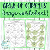 Area of Circles Maze Worksheet - Aligned to CCSS 7.G.B.4