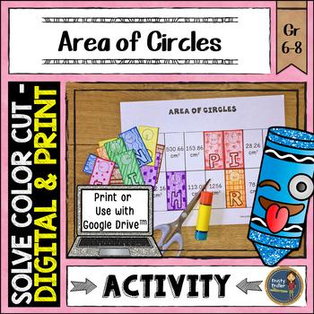 Area of Circles Solve, Color, Cut