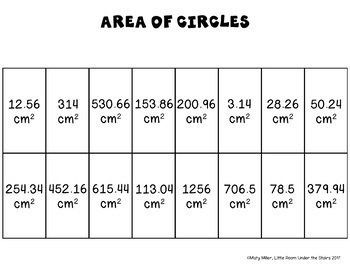 Area of Circles Solve, Color, Cut Pi Day Middle School