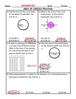 Area of Circles Word Problem Practice PLUS Spiral Review