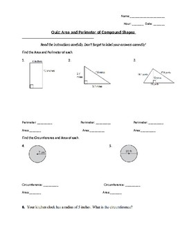 Area of Circles and Composite Figures QUIZ