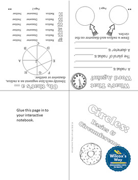 Area of Circles and Circumference Notes Foldables
