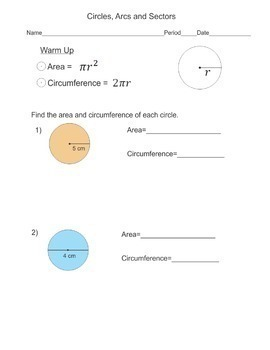 Area of Circles and Sectors - Circumference of Circles and Arc Length G-C.B.5