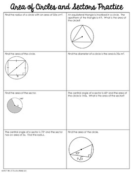 Area of Circles and Sectors Foldable