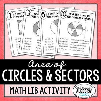 Area of Circles and Sectors of Circles Math Lib