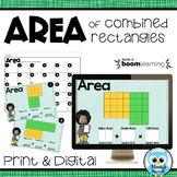 Area of Combined Rectangles Digital & Print Task Cards - Decomposed