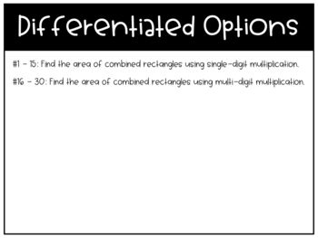 Area of Combined Rectangles Task Cards