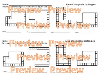 Area of Composite figures / Overlapping Rectangles Task cards & Activites