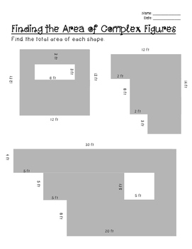 Area of Complex Figures- Leveled worksheets