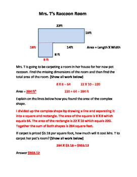 Area of Complex Shape, Decimals, Money, Word Problems