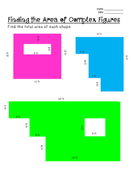 Area of Complex Shapes- 3 Levels
