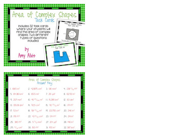 Area of Complex Shapes Task Cards SCOOT