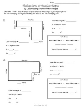 Area of Complex Shapes - Rectilinear - Scaffolding Worksheets