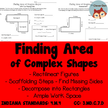 Area of Complex Shapes - Rectilinear - Scaffolding Worksheets - 3.MD.C.7