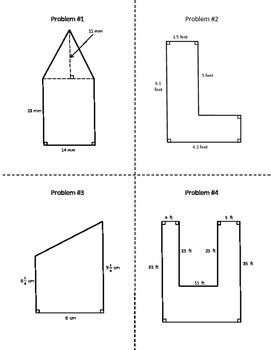 Area of Composite / Compound Shapes Task Cards