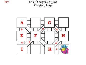 Area of Composite Figures Activity: Christmas Math Maze