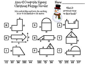 Area of Composite Figures Christmas Math Activity: Message Decoder