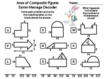 Area of Composite Figures Easter Math Activity: Message Decoder