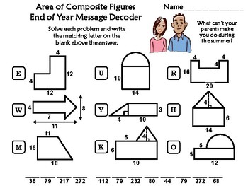 Area of Composite Figures End of Year Math Activity: Message Decoder