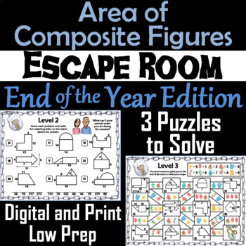 Area of Composite Figures Game: Geometry Escape Room End of Year Math Activity