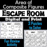 Area of Composite Figures Game: Geometry Escape Room - Math