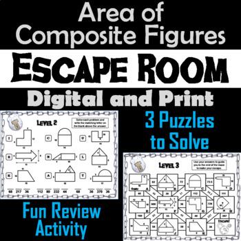 Area of Composite Figures Game: Geometry Escape Room - Math