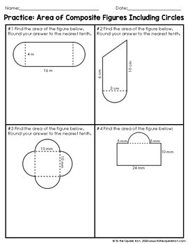 Area of Composite Figures with Circles Notes